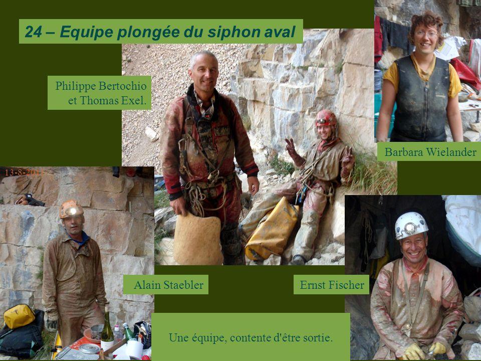 Barbara Wielander Alain Staebler 13-8-2011 24 – Equipe plongée du siphon aval Ernst Fischer Philippe Bertochio et Thomas Exel.