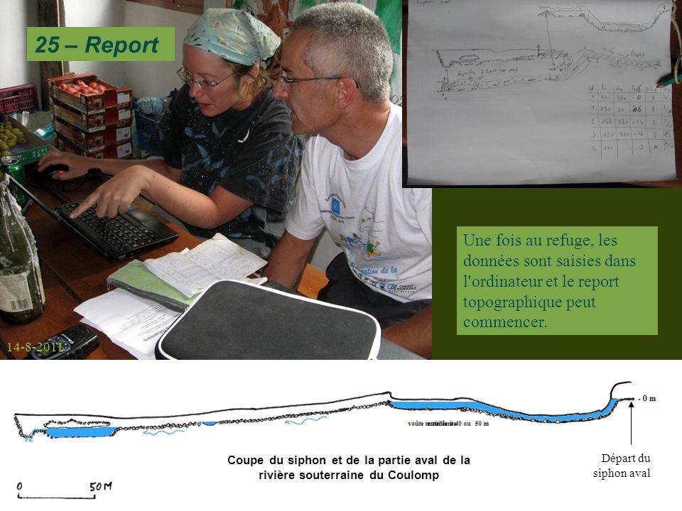 Une fois au refuge, les données sont saisies dans l ordinateur et le report topographique peut commencer.