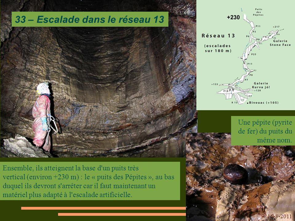 Ensemble, ils atteignent la base d un puits très vertical (environ +230 m) : le « puits des Pépites », au bas duquel ils devront s arrêter car il faut maintenant un matériel plus adapté à l escalade artificielle.