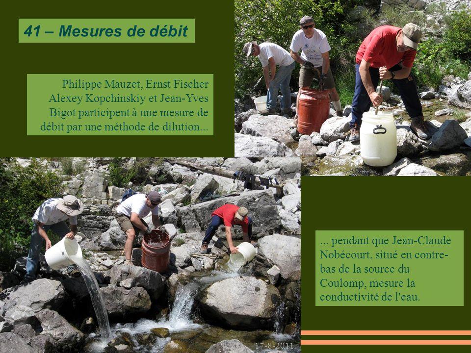 17-8-2011 Philippe Mauzet, Ernst Fischer Alexey Kopchinskiy et Jean-Yves Bigot participent à une mesure de débit par une méthode de dilution...