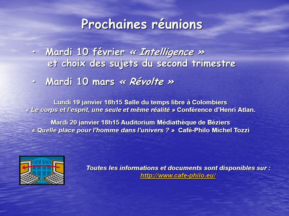 Mardi 10 février « Intelligence »Mardi 10 février « Intelligence » et choix des sujets du second trimestre et choix des sujets du second trimestre Mar