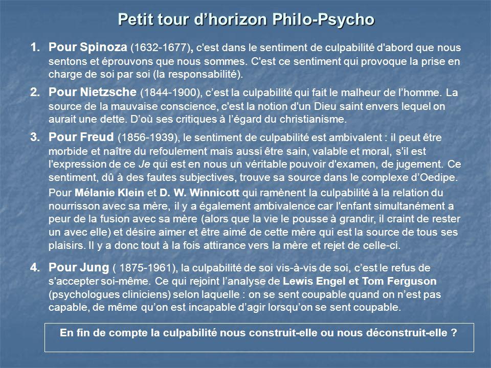 Petit tour dhorizon Philo-Psycho 1.Pour Spinoza (1632-1677), c'est dans le sentiment de culpabilité d'abord que nous sentons et éprouvons que nous som