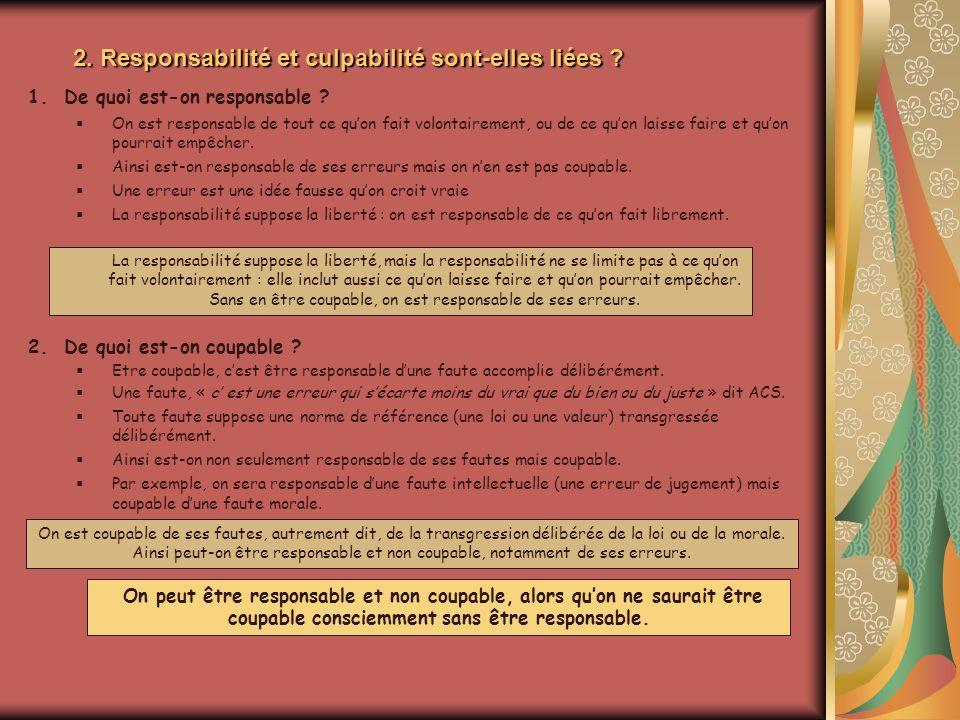 2. Responsabilité et culpabilité sont-elles liées ? 1.De quoi est-on responsable ? On est responsable de tout ce quon fait volontairement, ou de ce qu