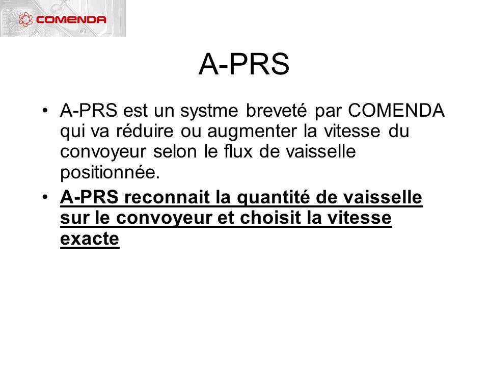 A-PRS A-PRS est un systme breveté par COMENDA qui va réduire ou augmenter la vitesse du convoyeur selon le flux de vaisselle positionnée. A-PRS reconn