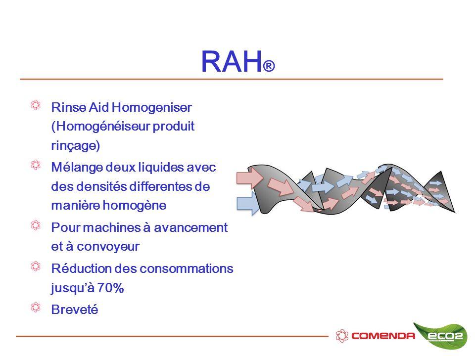 RAH ® Rinse Aid Homogeniser (Homogénéiseur produit rinçage) Mélange deux liquides avec des densités differentes de manière homogène Pour machines à av