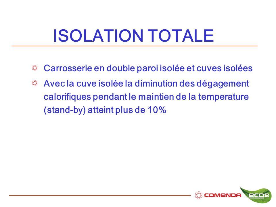 ISOLATION TOTALE Carrosserie en double paroi isolée et cuves isolées Avec la cuve isolée la diminution des dégagement calorifiques pendant le maintien