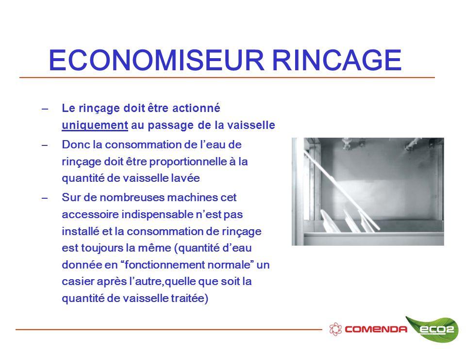 ECONOMISEUR RINCAGE –Le rinçage doit être actionné uniquement au passage de la vaisselle –Donc la consommation de leau de rinçage doit être proportion