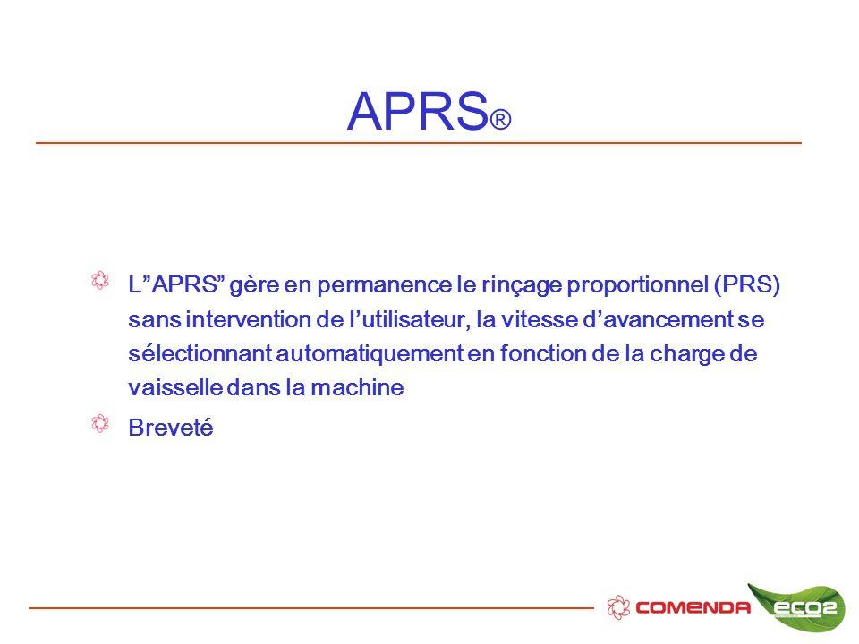 APRS ® LAPRS gère en permanence le rinçage proportionnel (PRS) sans intervention de lutilisateur, la vitesse davancement se sélectionnant automatiquem