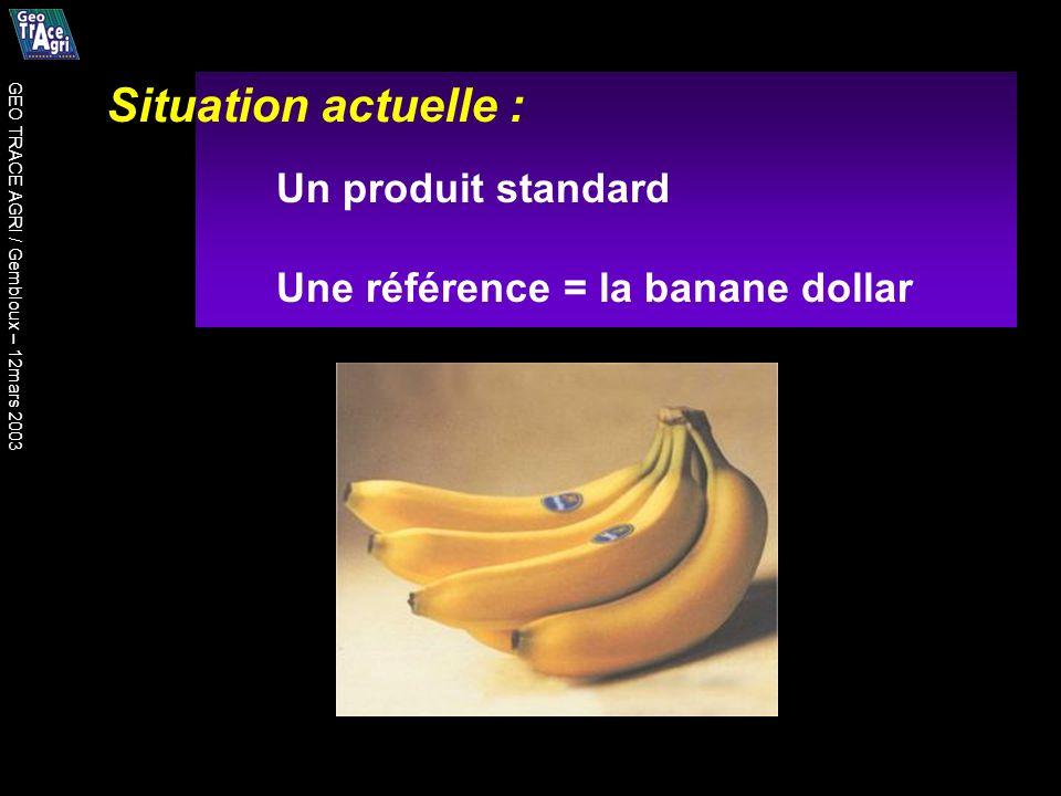 Situation actuelle : Un produit standard Une référence = la banane dollar GEO TRACE AGRI / Gembloux – 12mars 2003