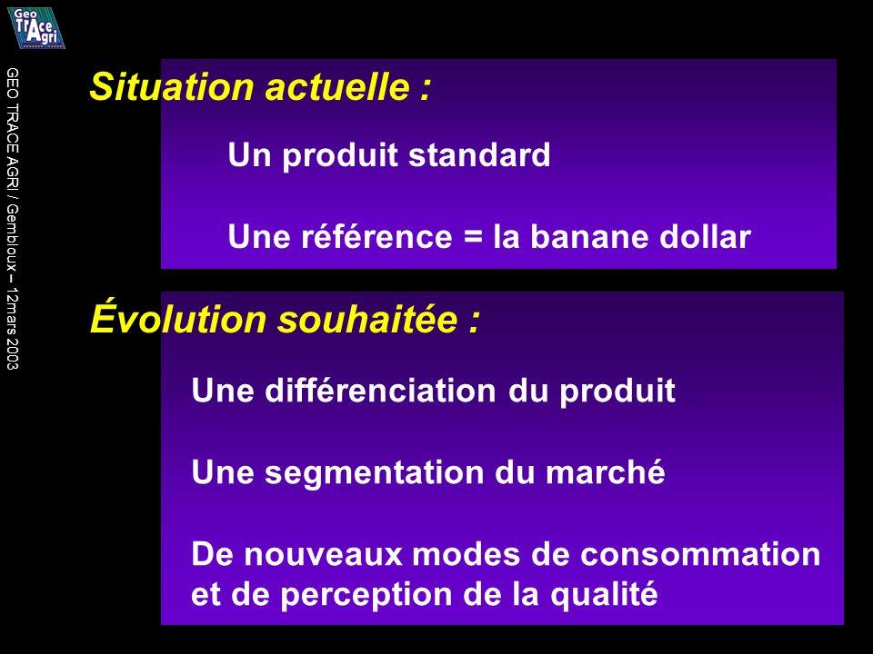 Situation actuelle : Évolution souhaitée : Un produit standard Une référence = la banane dollar Une différenciation du produit Une segmentation du marché De nouveaux modes de consommation et de perception de la qualité GEO TRACE AGRI / Gembloux – 12mars 2003