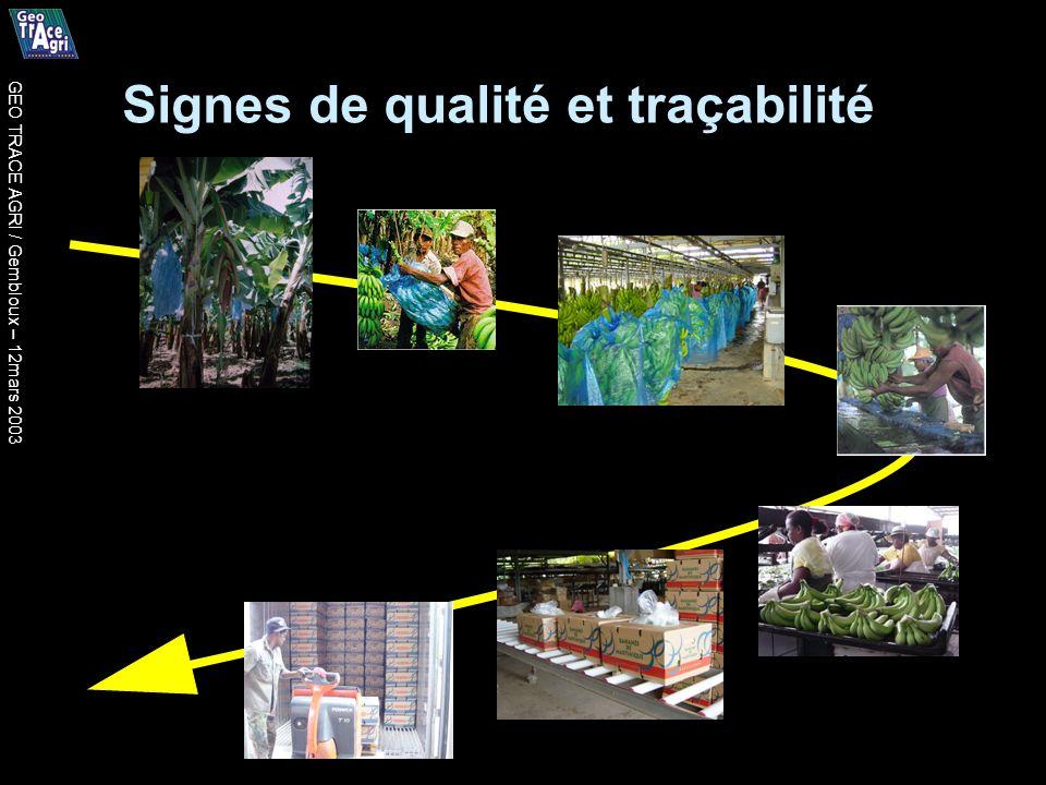 Signes de qualité et traçabilité GEO TRACE AGRI / Gembloux – 12mars 2003