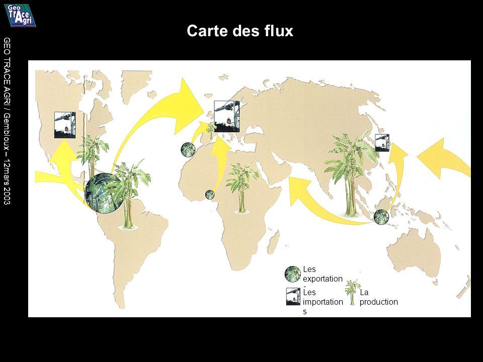 Les exportation s Les importation s La production Carte des flux GEO TRACE AGRI / Gembloux – 12mars 2003