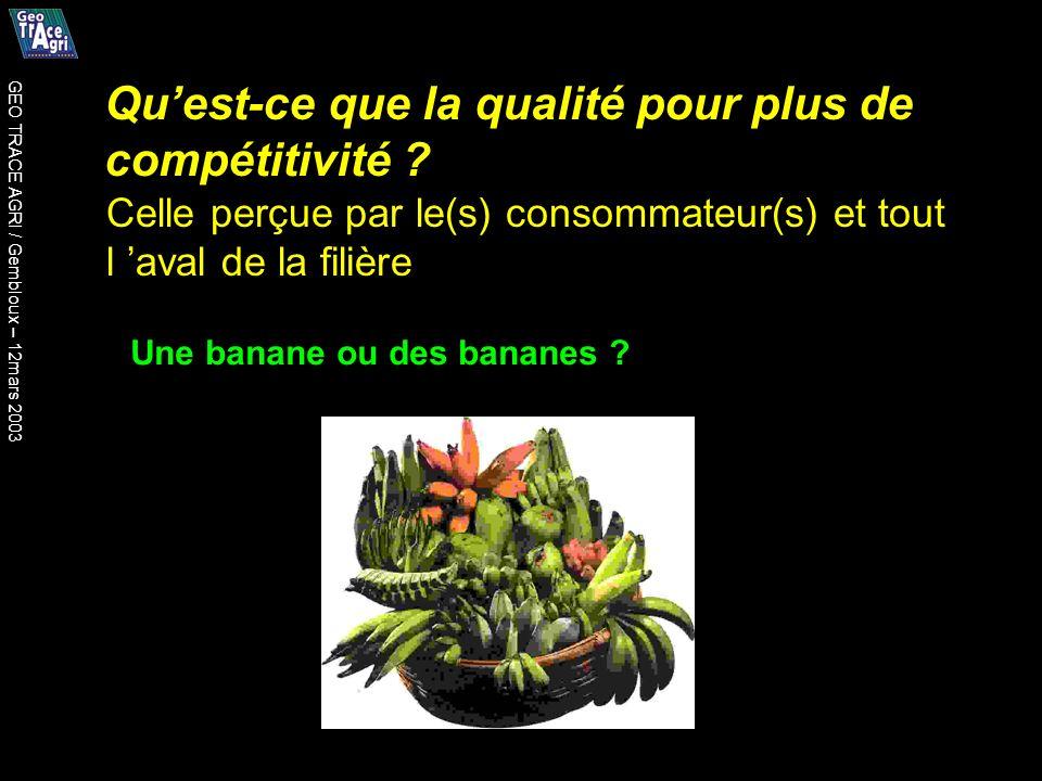 Quest-ce que la qualité pour plus de compétitivité ? Une banane ou des bananes ? Celle perçue par le(s) consommateur(s) et tout l aval de la filière G