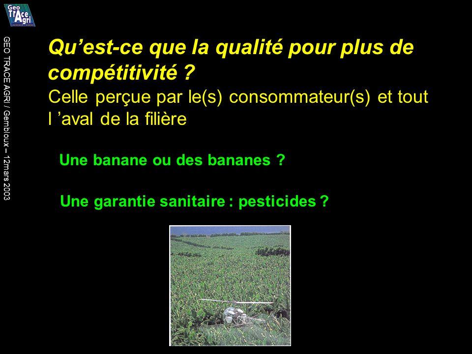Quest-ce que la qualité pour plus de compétitivité ? Une banane ou des bananes ? Une garantie sanitaire : pesticides ? Celle perçue par le(s) consomma