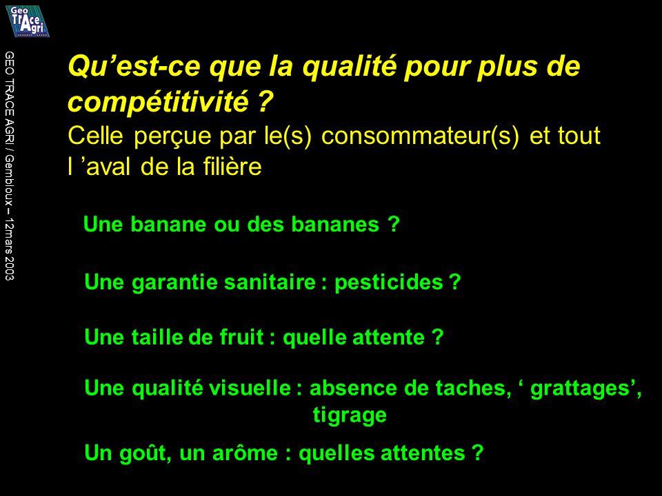 Quest-ce que la qualité pour plus de compétitivité ? Une banane ou des bananes ? Une garantie sanitaire : pesticides ? Une taille de fruit : quelle at
