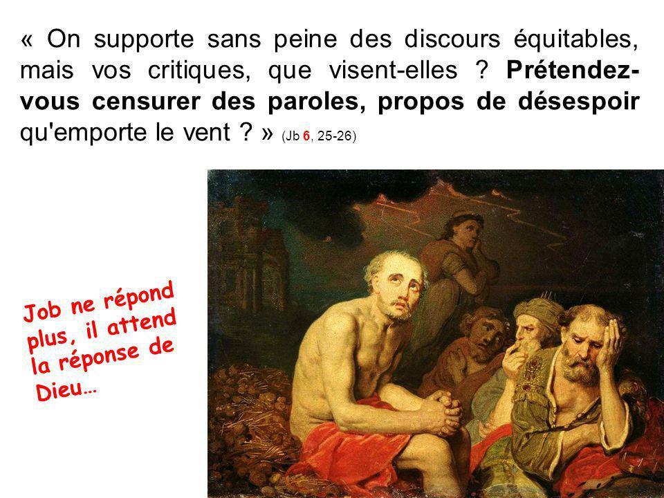 « On supporte sans peine des discours équitables, mais vos critiques, que visent-elles .