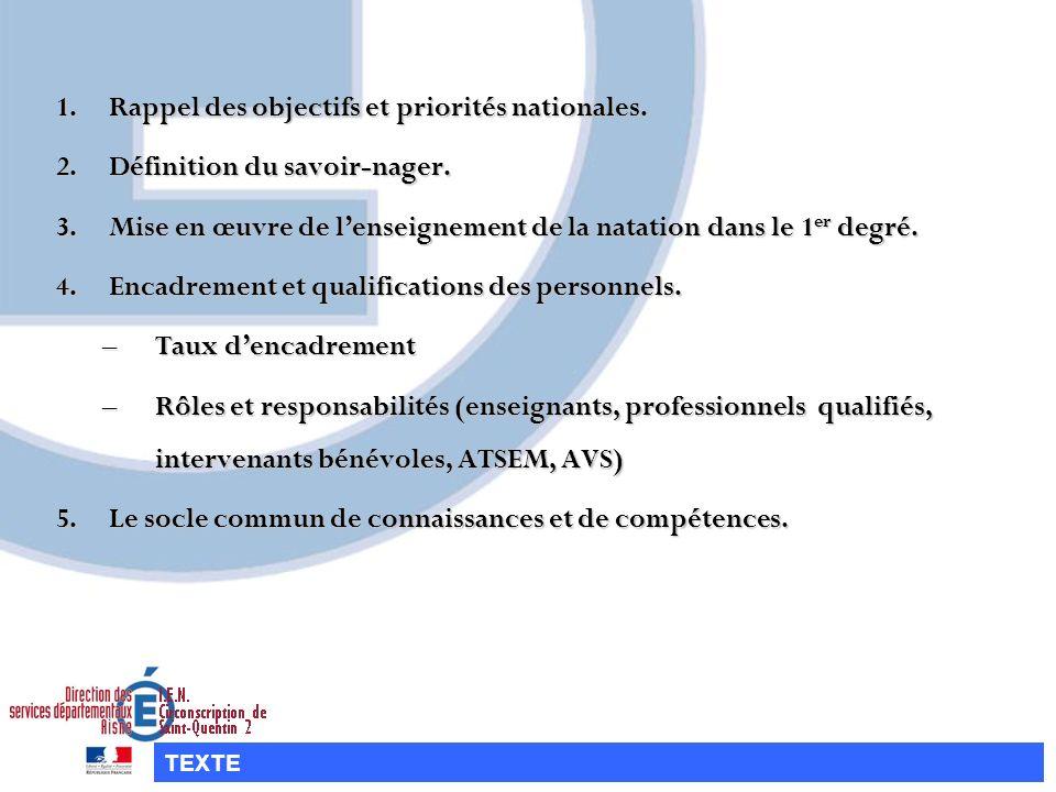 1.R appel des objectifs et priorités nationales. 2.D éfinition du savoir-nager. 3.M ise en œuvre de lenseignement de la natation dans le 1er degré. 4.