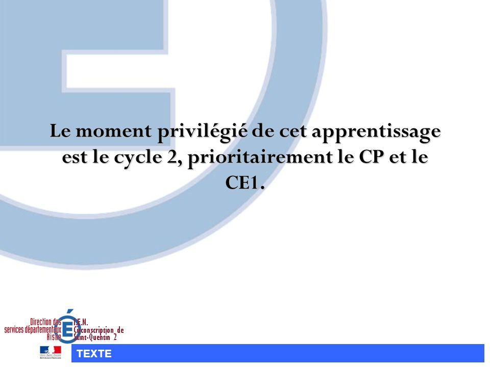 Le moment privilégié de cet apprentissage est le cycle 2, prioritairement le CP et le CE1. TEXTE