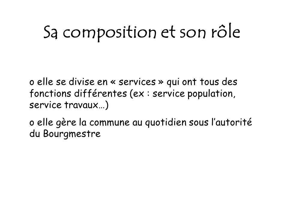 Sa composition et son rôle o elle se divise en « services » qui ont tous des fonctions différentes (ex : service population, service travaux…) o elle gère la commune au quotidien sous lautorité du Bourgmestre