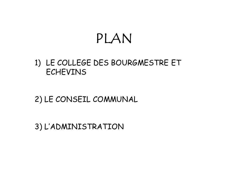 PLAN 1)LE COLLEGE DES BOURGMESTRE ET ECHEVINS 2) LE CONSEIL COMMUNAL 3) LADMINISTRATION
