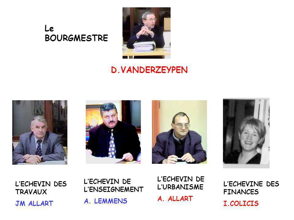 D.VANDERZEYPEN Le BOURGMESTRE LECHEVIN DES TRAVAUX JM ALLART LECHEVIN DE LENSEIGNEMENT A. LEMMENS LECHEVIN DE LURBANISME A. ALLART LECHEVINE DES FINAN