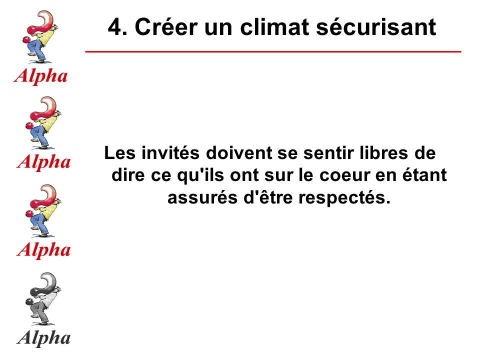 4. Créer un climat sécurisant Les invités doivent se sentir libres de dire ce qu'ils ont sur le coeur en étant assurés d'être respectés.