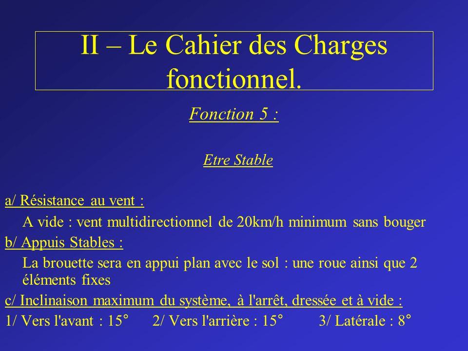 II – Le Cahier des Charges fonctionnel. Fonction 5 : Etre Stable a/ Résistance au vent : A vide : vent multidirectionnel de 20km/h minimum sans bouger