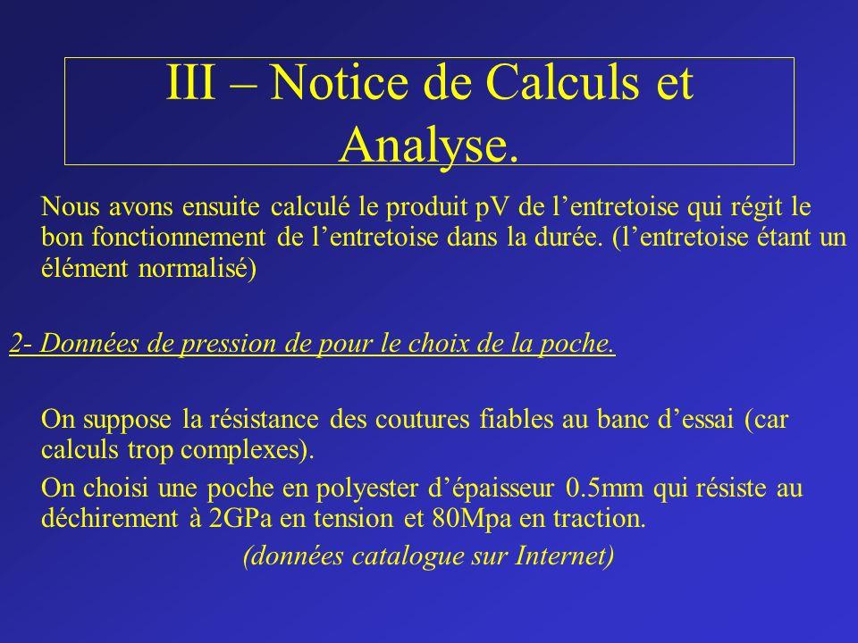 III – Notice de Calculs et Analyse. Nous avons ensuite calculé le produit pV de lentretoise qui régit le bon fonctionnement de lentretoise dans la dur