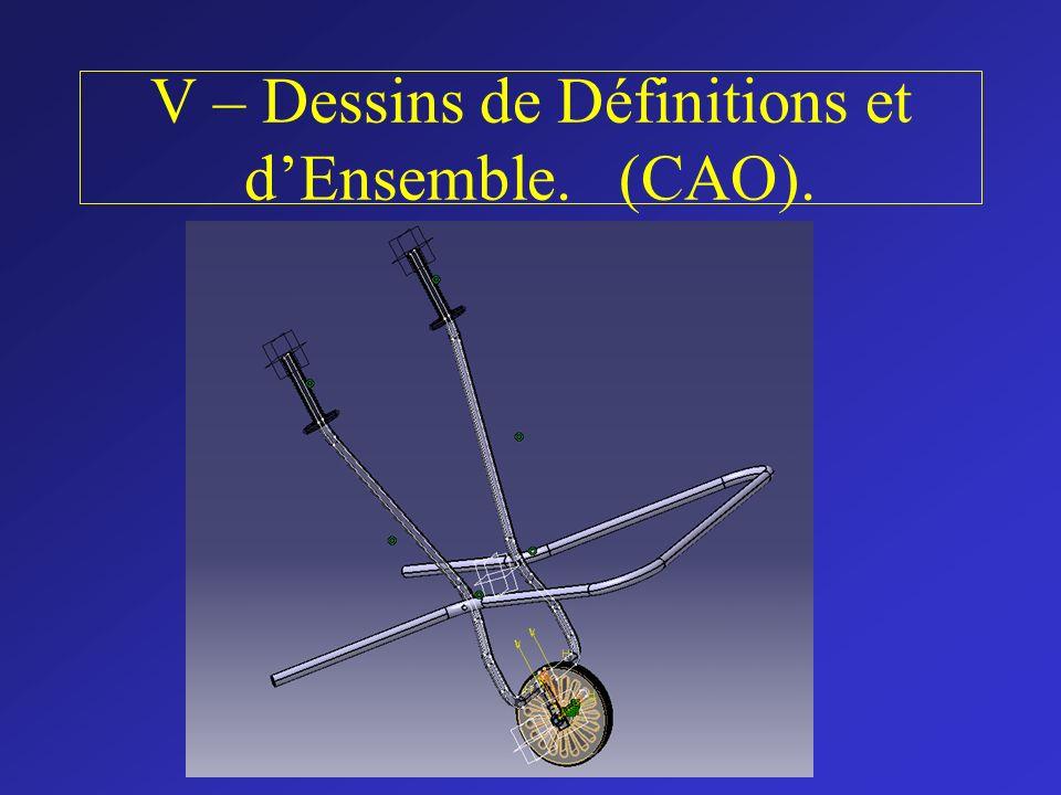V – Dessins de Définitions et dEnsemble. (CAO).