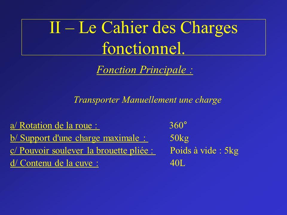 II – Le Cahier des Charges fonctionnel. Fonction Principale : Transporter Manuellement une charge a/ Rotation de la roue : 360° b/ Support d'une charg