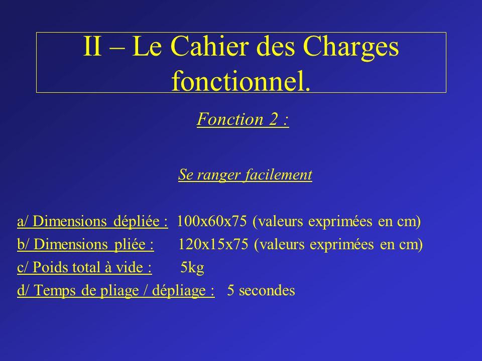 II – Le Cahier des Charges fonctionnel. Fonction 2 : Se ranger facilement a/ Dimensions dépliée : 100x60x75 (valeurs exprimées en cm) b/ Dimensions pl