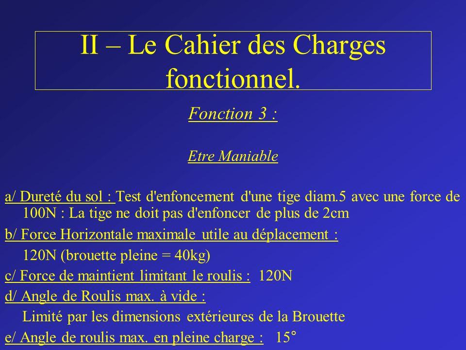 II – Le Cahier des Charges fonctionnel. Fonction 3 : Etre Maniable a/ Dureté du sol : Test d'enfoncement d'une tige diam.5 avec une force de 100N : La