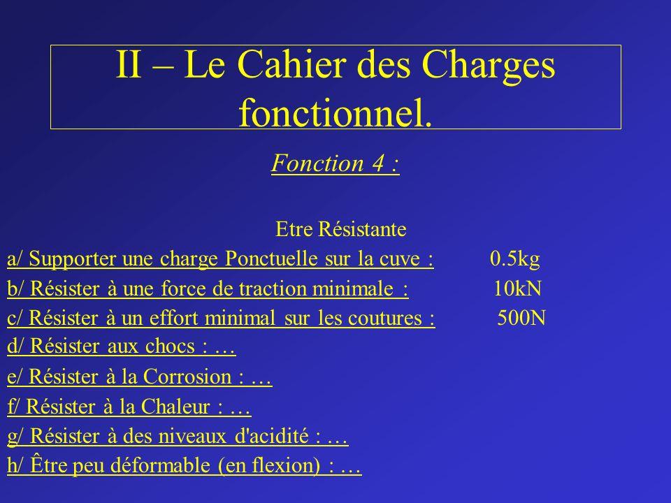 II – Le Cahier des Charges fonctionnel. Fonction 4 : Etre Résistante a/ Supporter une charge Ponctuelle sur la cuve : 0.5kg b/ Résister à une force de