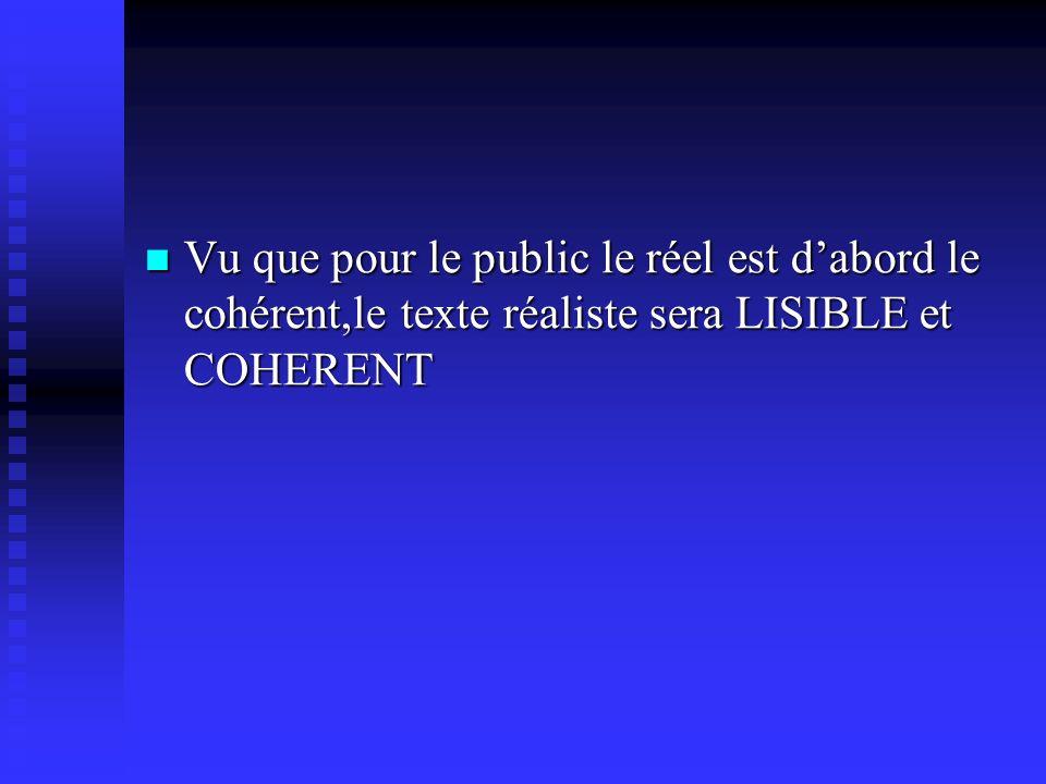 Vu que pour le public le réel est dabord le cohérent,le texte réaliste sera LISIBLE et COHERENT Vu que pour le public le réel est dabord le cohérent,le texte réaliste sera LISIBLE et COHERENT