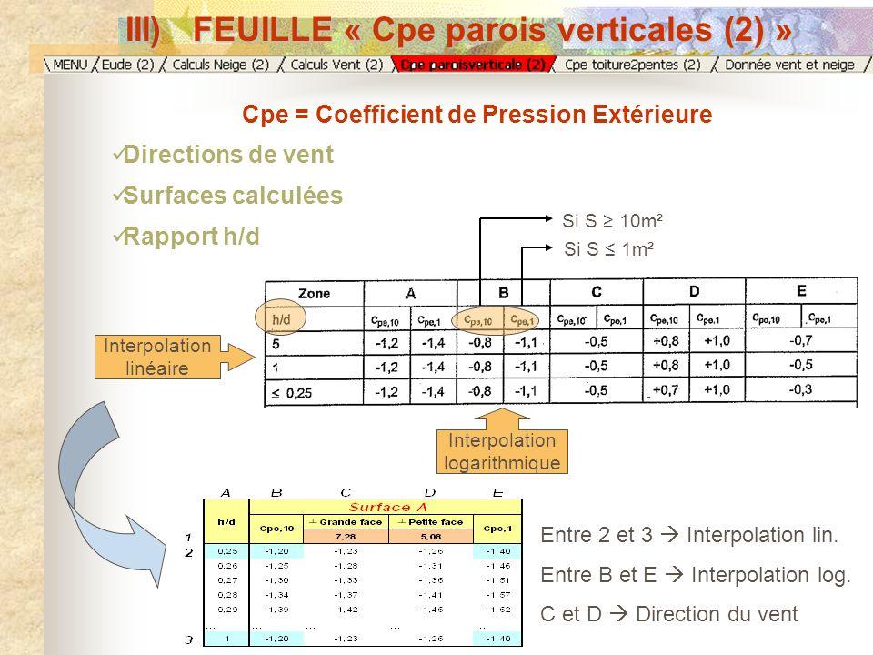 III) FEUILLE « Cpe parois verticales (2) » Cpe = Coefficient de Pression Extérieure Directions de vent Surfaces calculées Rapport h/d Interpolation lo