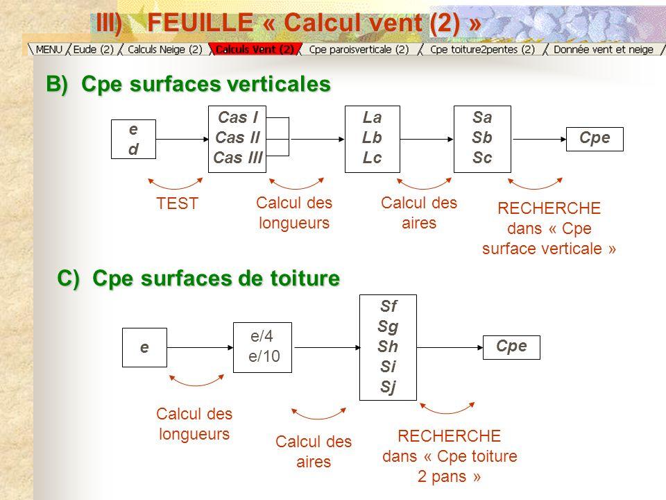 B) Cpe surfaces verticales C) Cpe surfaces de toiture TEST Calcul des longueurs Calcul des aires RECHERCHE dans « Cpe surface verticale » eded Cas I C