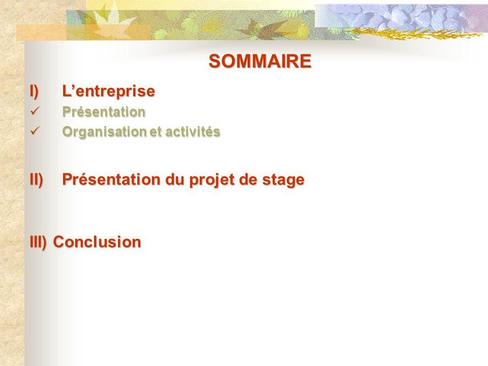 SOMMAIRE I)Lentreprise Présentation Présentation Organisation et activités Organisation et activités II)Présentation du projet de stage III) Conclusio