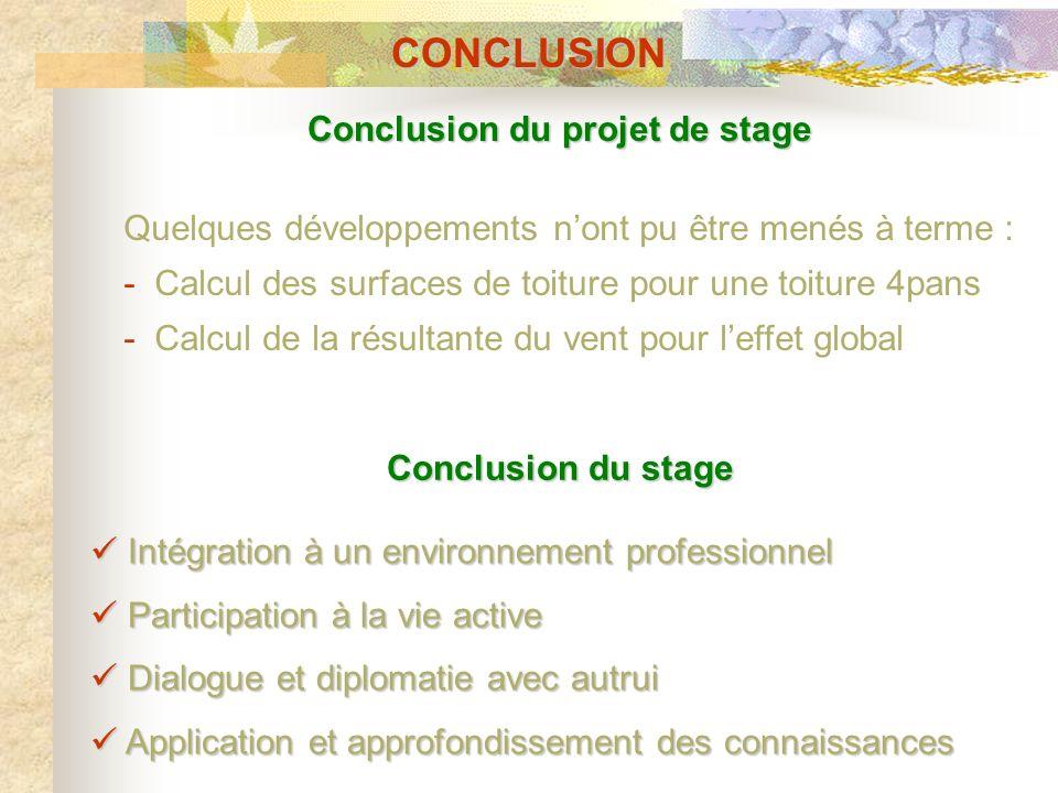 CONCLUSION Conclusion du projet de stage Conclusion du stage Quelques développements nont pu être menés à terme : - Calcul des surfaces de toiture pou