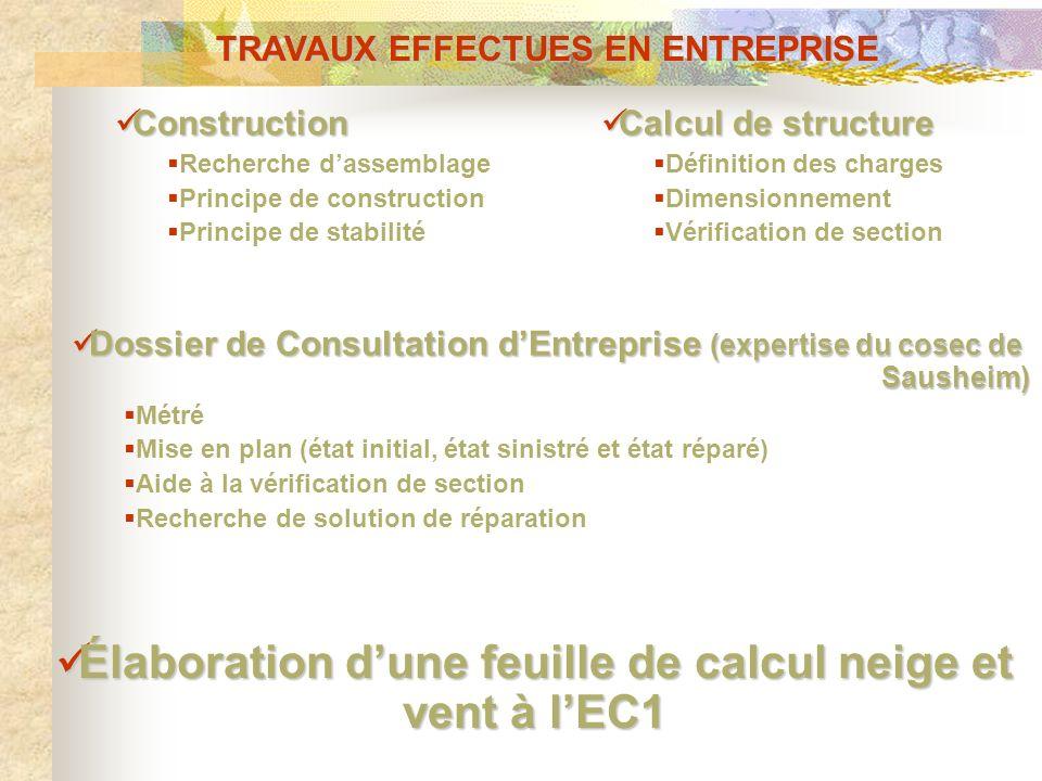 TRAVAUX EFFECTUES EN ENTREPRISE Construction Construction Recherche dassemblage Principe de construction Principe de stabilité Calcul de structure Cal