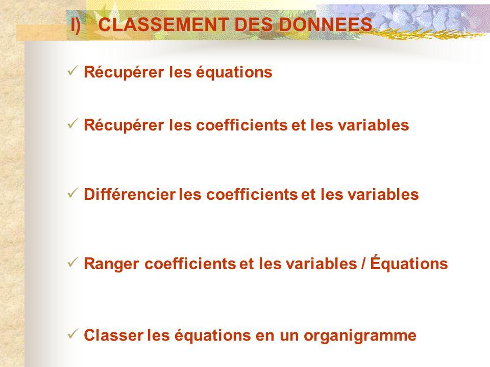 I) CLASSEMENT DES DONNEES Classer les équations en un organigramme Récupérer les équations Récupérer les coefficients et les variables Différencier le