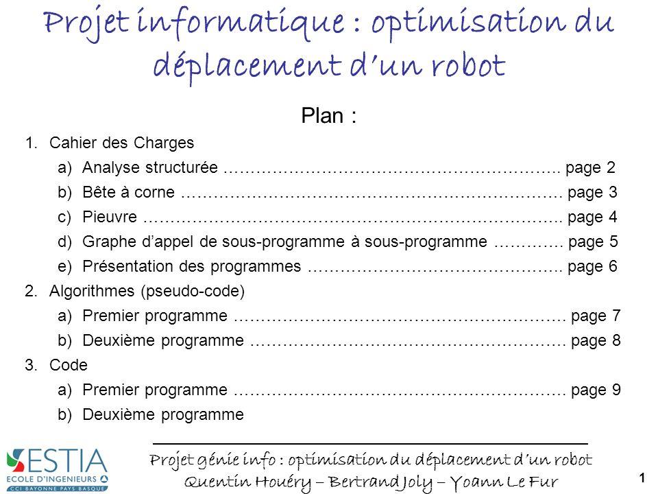 Projet génie info : optimisation du déplacement dun robot Quentin Houéry – Bertrand Joly – Yoann Le Fur 1 Projet informatique : optimisation du déplac