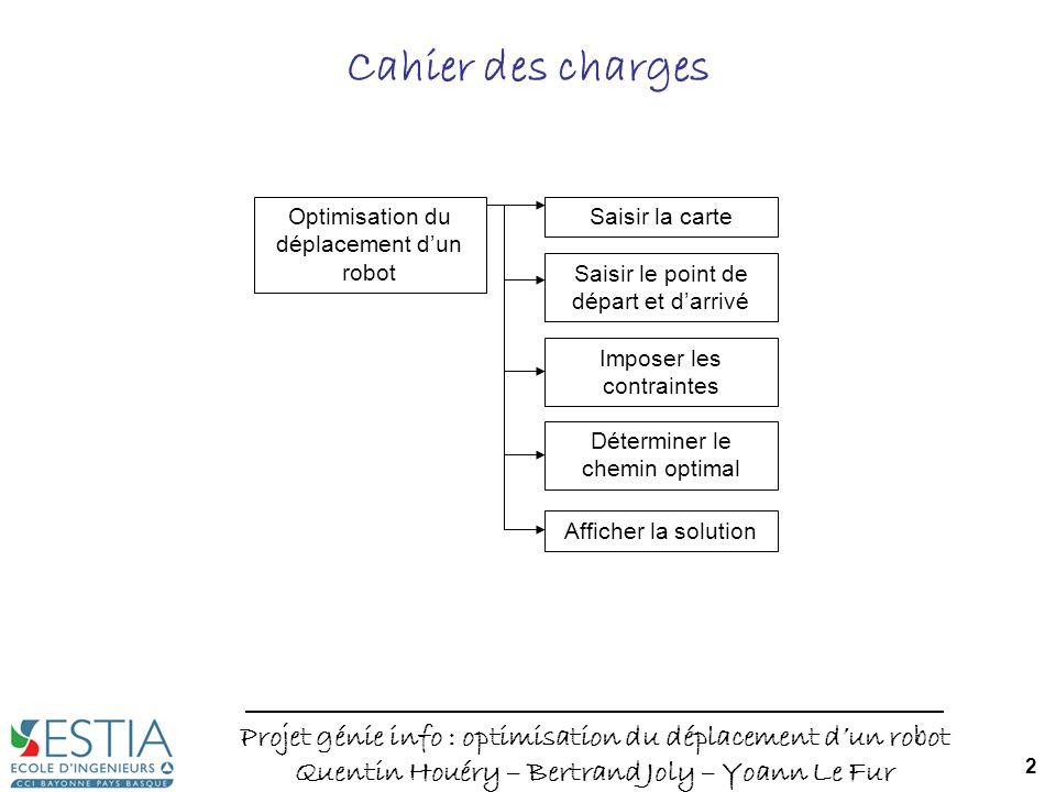 Projet génie info : optimisation du déplacement dun robot Quentin Houéry – Bertrand Joly – Yoann Le Fur 2 Cahier des charges Optimisation du déplaceme
