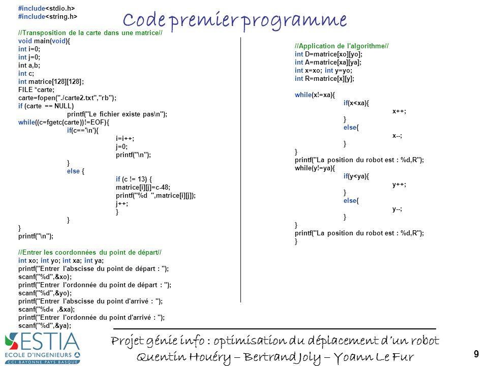 Projet génie info : optimisation du déplacement dun robot Quentin Houéry – Bertrand Joly – Yoann Le Fur 9 Code premier programme #include //Transposition de la carte dans une matrice// void main(void){ int i=0; int j=0; int a,b; int c; int matrice[128][128]; FILE *carte; carte=fopen( ./carte2.txt , rb ); if (carte == NULL) printf( Le fichier existe pas\n ); while((c=fgetc(carte))!=EOF){ if(c== \n ){ i=i++; j=0; printf( \n ); } else { if (c != 13) { matrice[i][j]=c-48; printf( %d ,matrice[i][j]); j++; } printf( \n ); //Entrer les coordonnées du point de départ// int xo; int yo; int xa; int ya; printf( Entrer l abscisse du point de départ : ); scanf( %d ,&xo); printf( Entrer l ordonnée du point de départ : ); scanf( %d ,&yo); printf( Entrer l abscisse du point d arrivé : ); scanf( %d«,&xa); printf( Entrer l ordonnée du point d arrivé : ); scanf( %d ,&ya); //Application de l algorithme// int D=matrice[xo][yo]; int A=matrice[xa][ya]; int x=xo; int y=yo; int R=matrice[x][y]; while(x!=xa){ if(x<xa){ x++; } else{ x--; } printf( La position du robot est : %d,R ); while(y!=ya){ if(y<ya){ y++; } else{ y--; } printf( La position du robot est : %d,R ); }