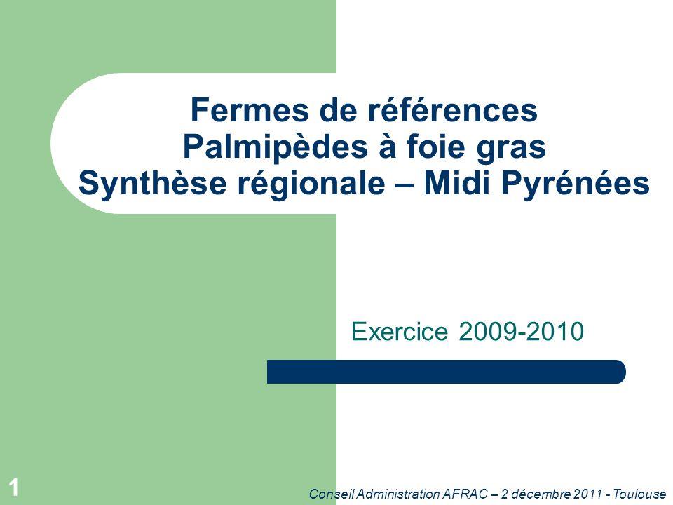 Conseil Administration AFRAC – 2 décembre 2011 - Toulouse 1 Fermes de références Palmipèdes à foie gras Synthèse régionale – Midi Pyrénées Exercice 2009-2010