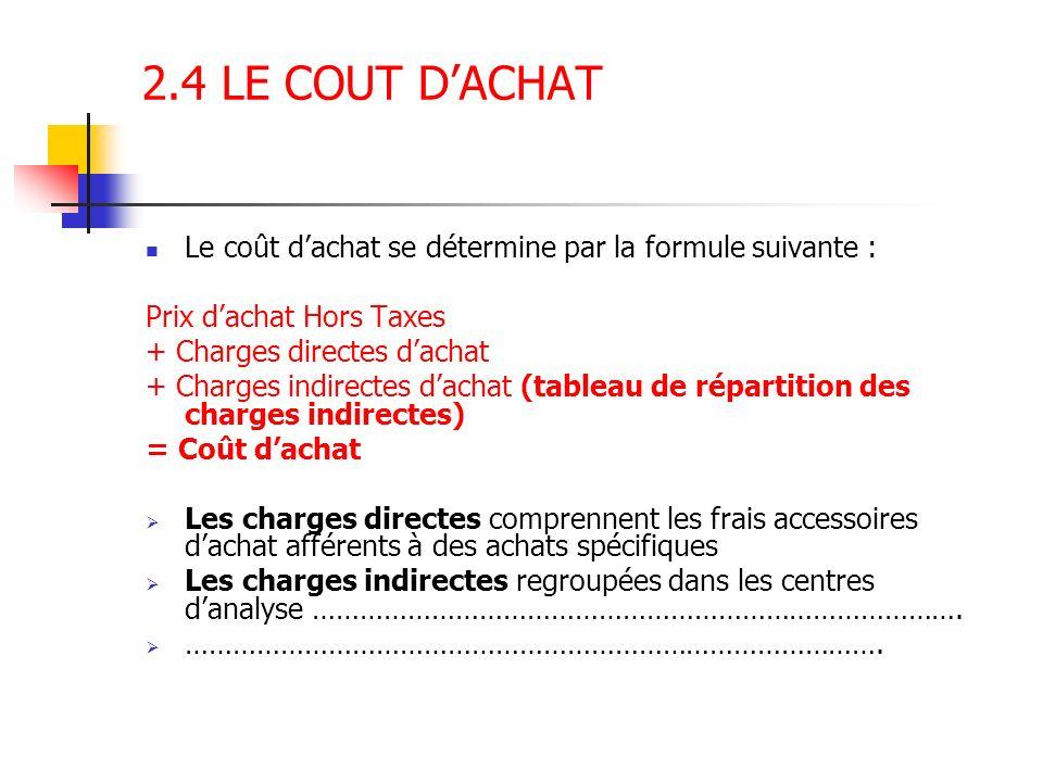 2.4 LE COUT DACHAT Le coût dachat se détermine par la formule suivante : Prix dachat Hors Taxes + Charges directes dachat + Charges indirectes dachat