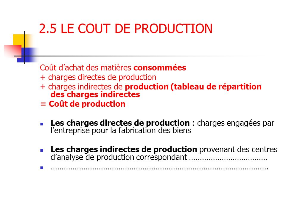 2.5 LE COUT DE PRODUCTION Coût dachat des matières consommées + charges directes de production + charges indirectes de production (tableau de répartit