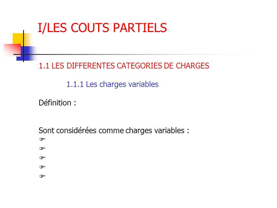 I/LES COUTS PARTIELS 1.1 LES DIFFERENTES CATEGORIES DE CHARGES 1.1.1 Les charges variables Définition : Sont considérées comme charges variables :