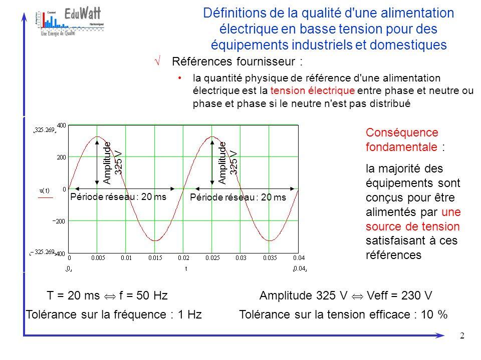 13 Dégradation de la qualité de l énergie du fait de la présence de courants harmoniques sur les distributions L onde de tension n est plus sinusoïdale En conséquence, d autres charges, même linéaires, connectées aux bornes de la même source de tension risquent de ne plus être alimentées dans des conditions satisfaisant aux références de tension exigées Pour expliquer le phénomène, à ce stade, il suffit de dire qu il est dû à l impédance de source (détaillé dans la communication sources et harmoniques ) 150 Hz 36,8 A 124° Veff Ls.