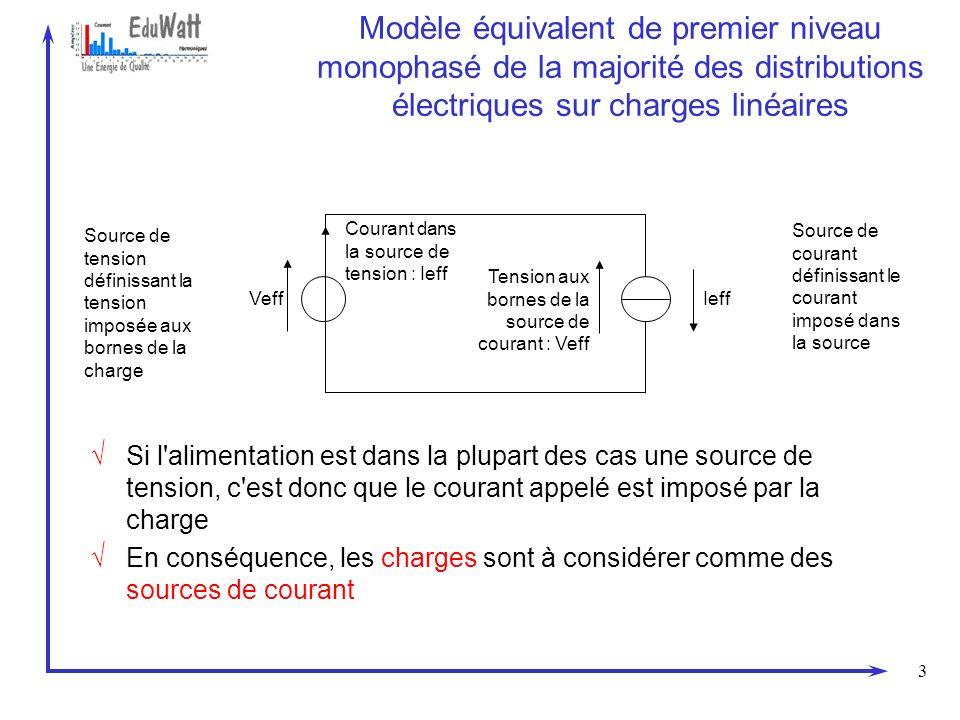 3 Modèle équivalent de premier niveau monophasé de la majorité des distributions électriques sur charges linéaires Si l'alimentation est dans la plupa