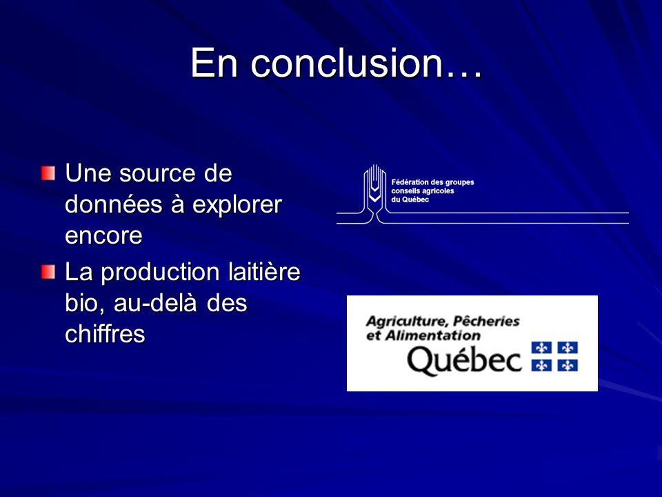 En conclusion… En conclusion… Une source de données à explorer encore La production laitière bio, au-delà des chiffres